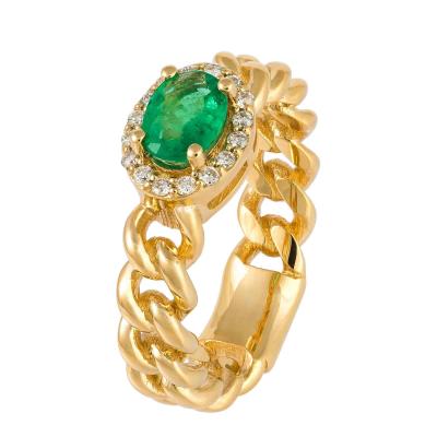 Anel esmeralda oval