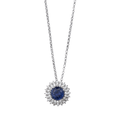 Gargantilha Infantil Safira e diamantes