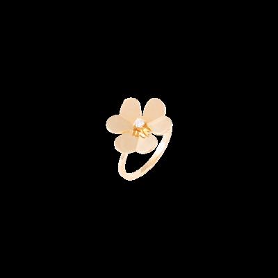 Anel flor com diamante