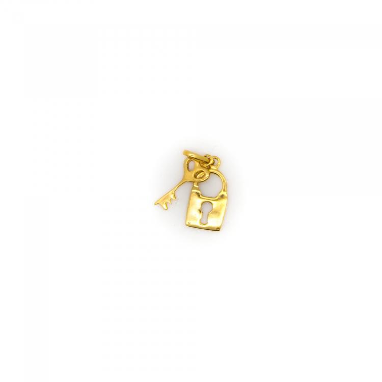Pingente Chave e Cadeado em Ouro Amarelo