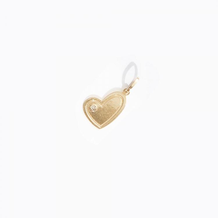 Pingente Coração Shadow em Ouro Amarelo