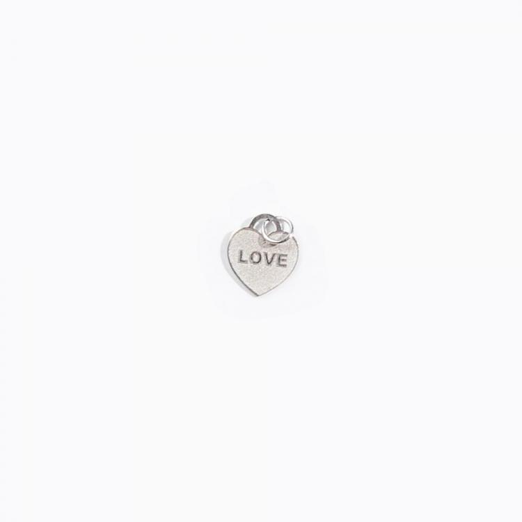 Pingente Coração Love em Ouro Branco
