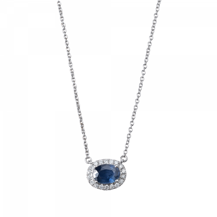 Gargantilha em Safira oval e Diamantes
