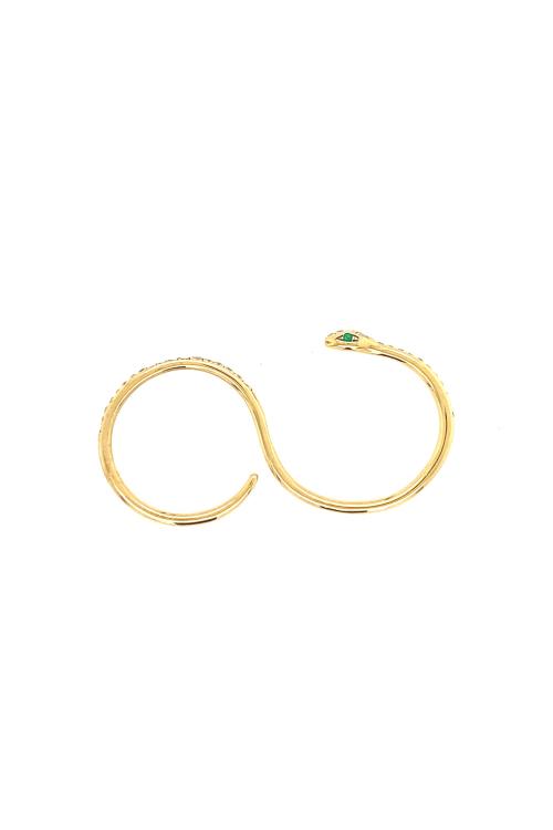 Anel Cobra Diamantes e Esmeralda