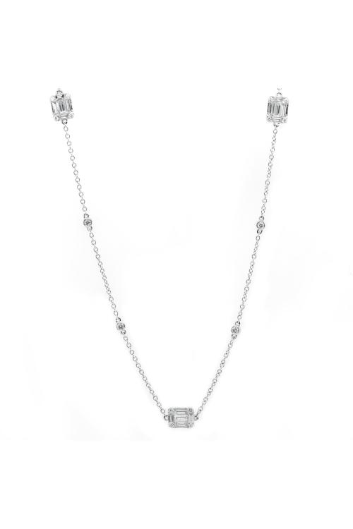 Gargantilha Trés com Diamantes em Ouro Branco