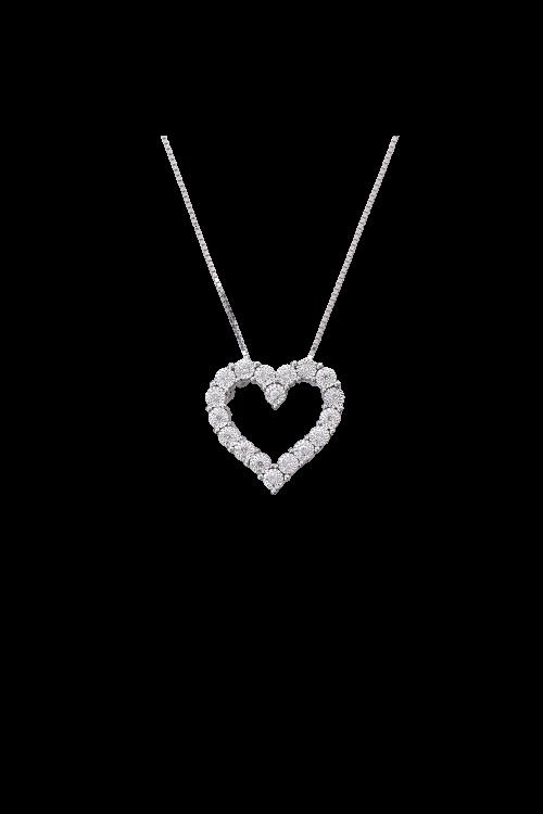 Gargantilha Coração com Diamantes em Ouro Branco
