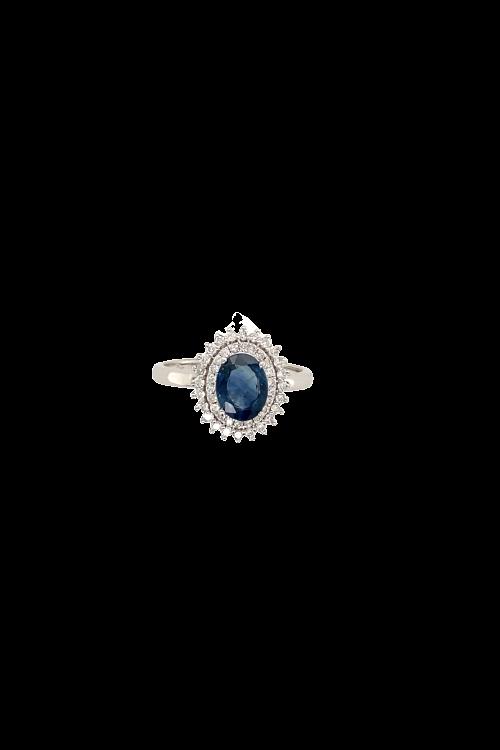 Anel Safira Moldura Diamante
