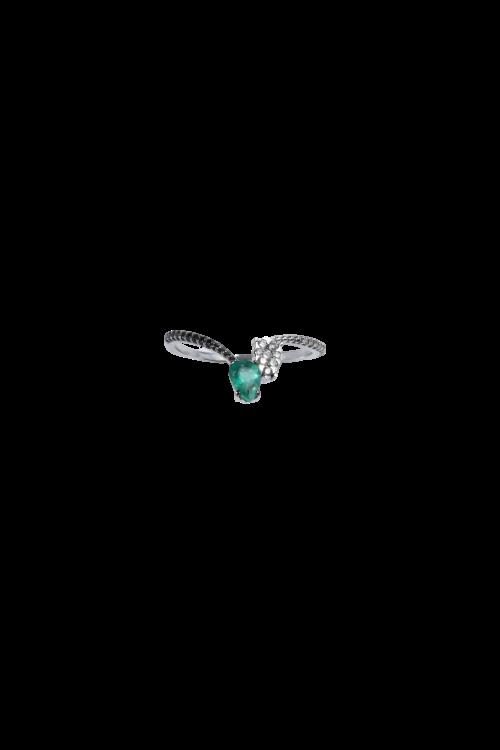 Anel Esmeralda diamante negro e branco-U